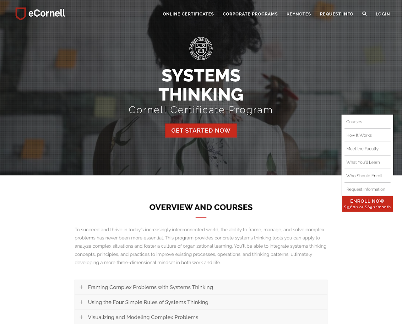 Cornell University Systems Thinking. Modeling, and Leadership Certificate. (online)